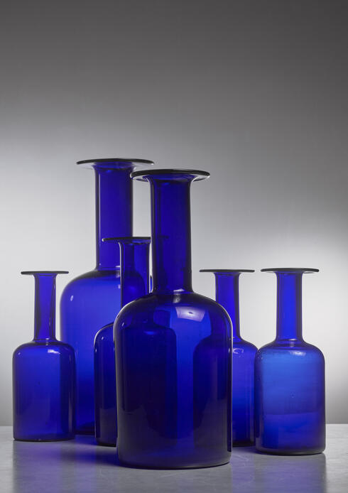 Bloomberry - Otto Brauer set of six blue glass vases for Holmegaard, Denmark
