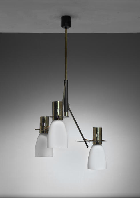 Bloomberry - Reversible Stilnovo Three Armed Brass and Glass Chandelier, 1950s