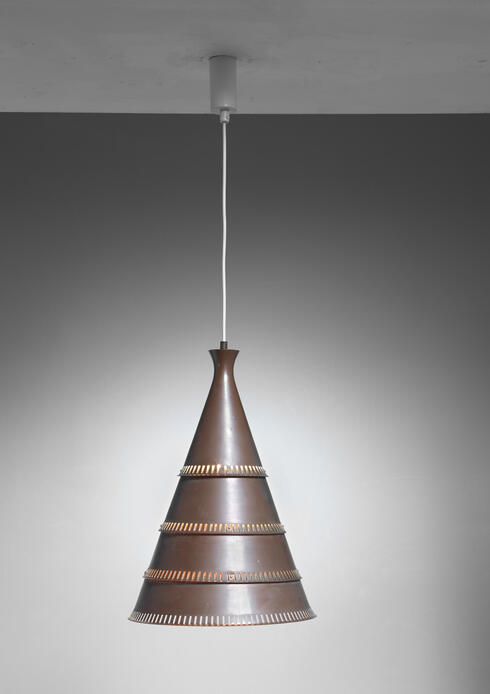 Bloomberry - Knud Hjerting model p208 copper pendant for Lyfa, Denmark, 1960s