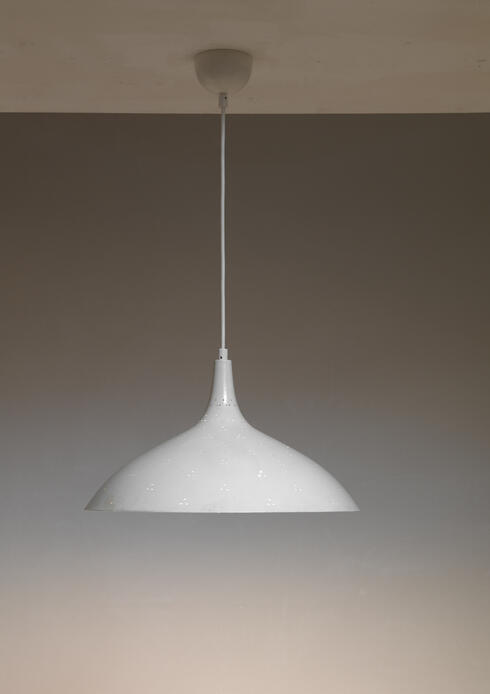 Bloomberry - Paavo Tynell white A1965 pendant lamp, Idman, Finland