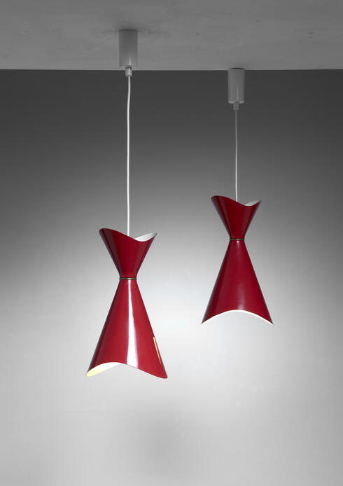 Bloomberry - Bent Karlby pair of Ninotchka pendants, Denmark, 1950s