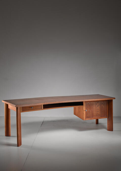 Bloomberry - Large teak desk by Bela Angelus, Italy, 1940s
