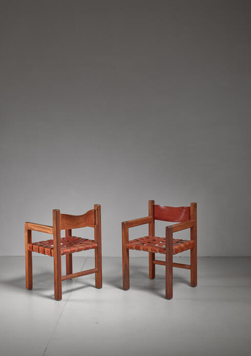 Bloomberry - Set of Four Studio Crafted Leather Webbed Chairs, USA, 1950s