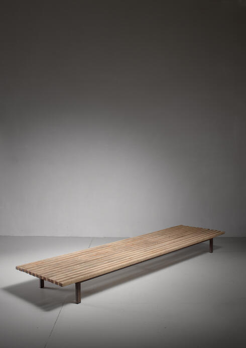 Bloomberry - Extra Large Charlotte Perriand Slat Bench or Table, 1950s