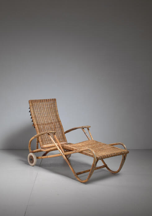 Bloomberry - Adjustable Bamboo and Rattan Chaise with Wheels, Germany, 1920s-1930s