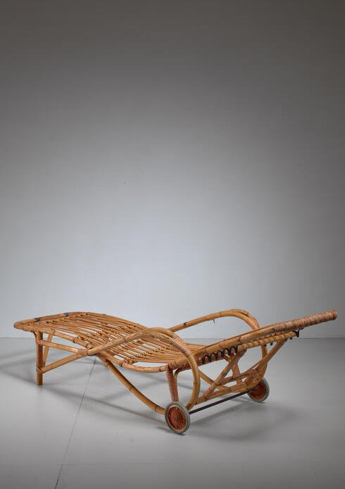 Bloomberry - Adjustable Bamboo garden chaise longue, Germany, 1930s