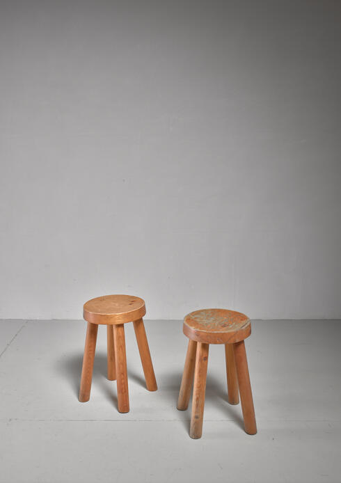 Bloomberry - Charlotte Perriand pair of four legged pine stools, France, 1960s