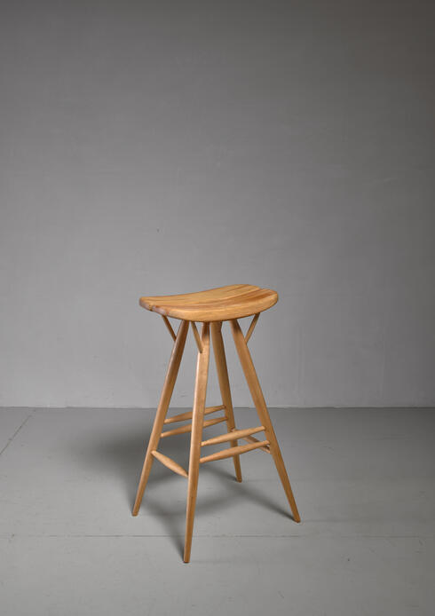 Bloomberry - Rare Ilmari Tapiovaara blond bar stool, Finland, 1950s