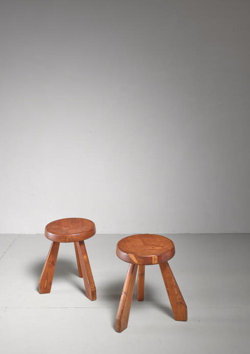 Bloomberry - Charlotte Perriand Les Arcs Stool, France, 1960s