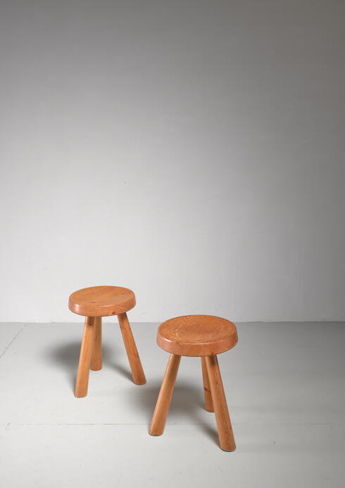 Bloomberry - Charlotte Perriand pair of tripod pine stools from Les Arcs, France, 1960s