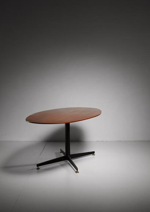 Bloomberry - Oval Italian Dining Table with Wooden Top, 1950s