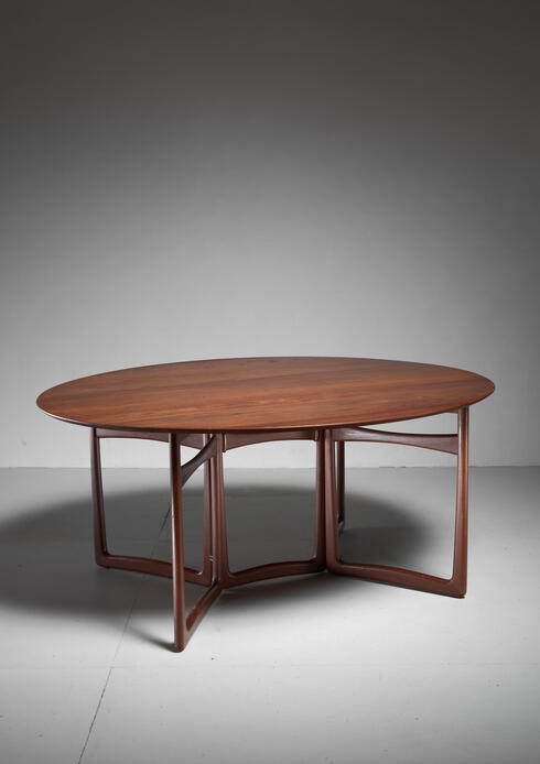 Bloomberry - Peter Hvidt Drop-Leaf Desk or Dining Table, Denmark, 1960s