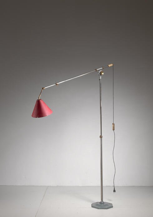 Bloomberry - Large 1950s metal floor lamp that can reach up to 394 cm height