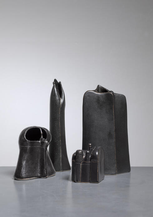 Bloomberry - Antje Schimpfle set of four sculptural ceramic vases, Germany, 1980s