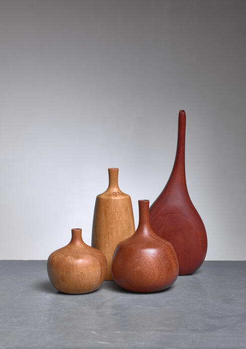 Bloomberry - Set of four turned wood vases, three by Rude Osolnik, USA, 1960s