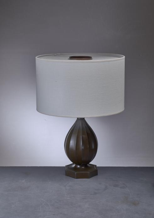 Bloomberry - Just Andersen rounded metal table lamp, Denmark, 1930s