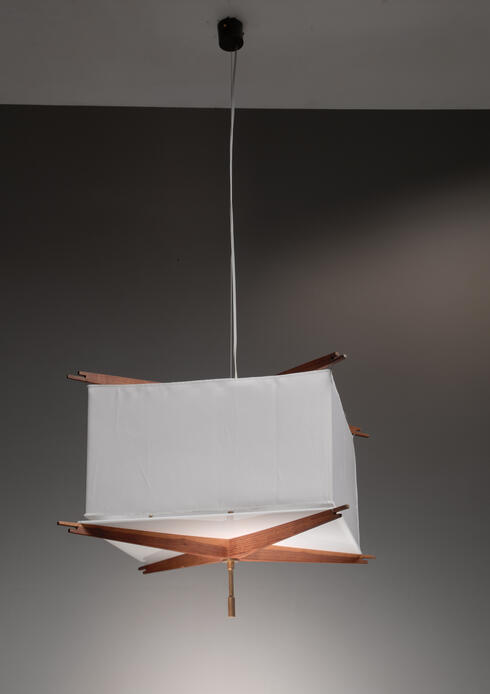 Bloomberry - One of five Franco Albini wood and fabric pendant lamps, Italy, 1950s