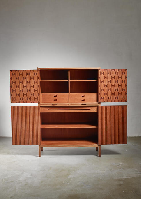 Bloomberry - Signed 1950s David Rosen teak cabinet