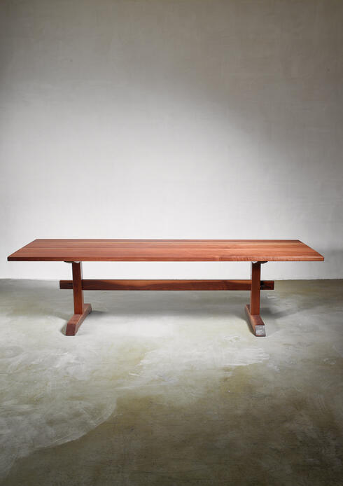 Bloomberry - Rude Osolnik Unique and Long Walnut Trestle Table, USA, 1960s