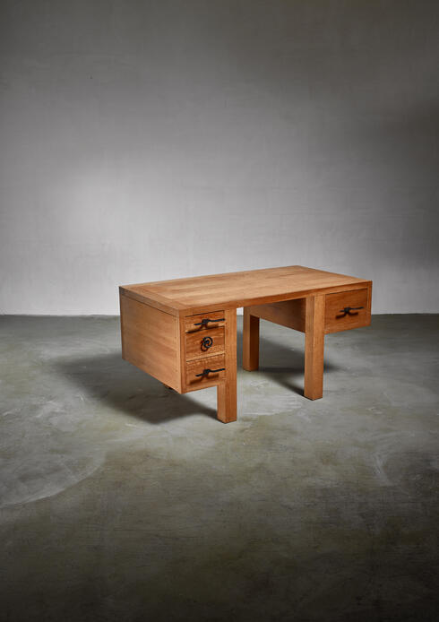 Bloomberry - Jean Touret oak desk for Marolles, France, 1950s