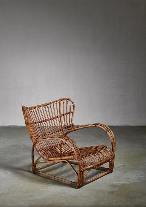 Bloomberry - Viggo Boesen Rattan Lounge Chair for E.V.A. Nissen, Denmark, 1930s