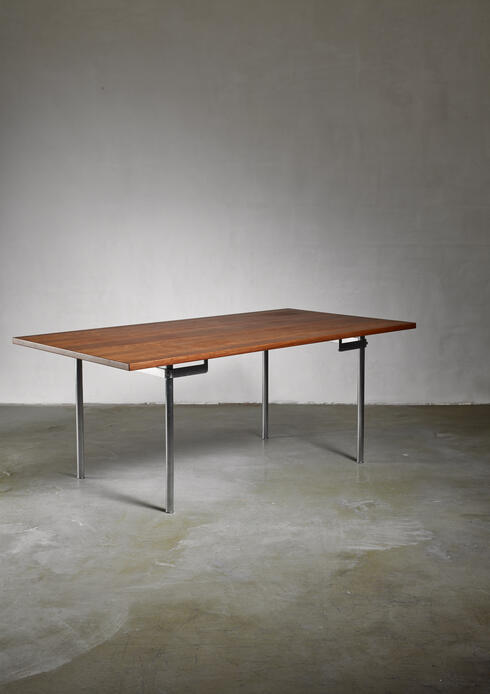 Bloomberry - Hans J. Wegner Desk or Dining Table with wooden Top and Stainless Steel Frame