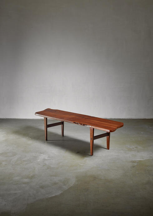 Bloomberry - Handcrafted Walnut Bench, American, 1960s