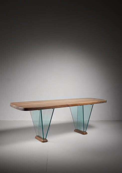 Bloomberry - Robert Sentou Desk with Glass Legs, France, 1970s