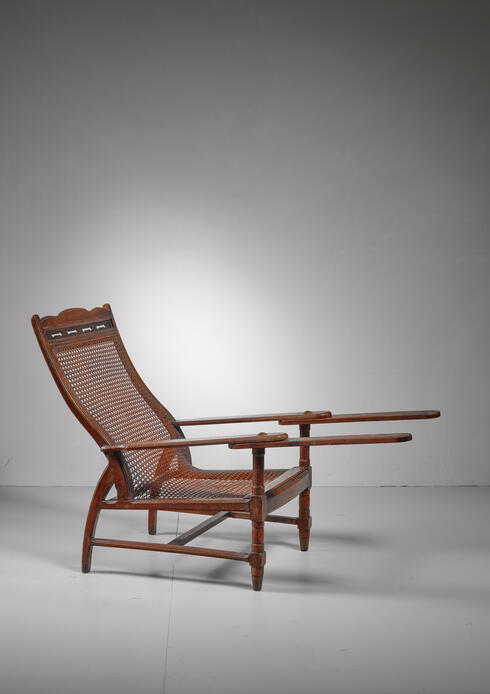 Bloomberry - Planter's chair in teak, cane and brass, Italy, circa 1900