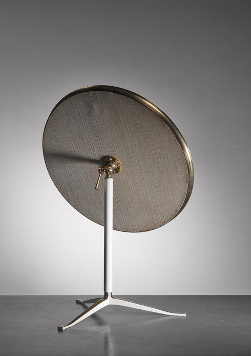 Bloomberry - Round Brass and White Console or Vanity Mirror, Germany, 1950s