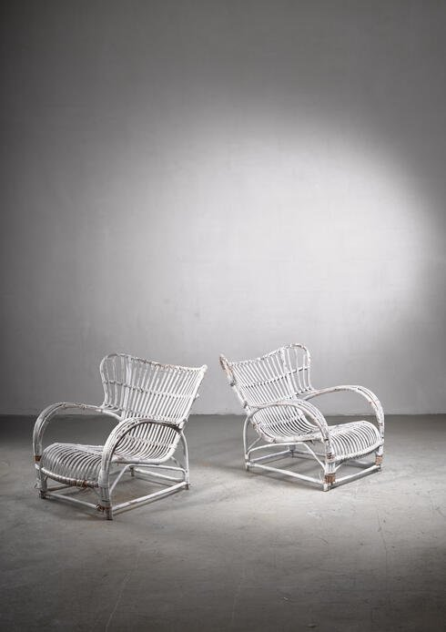 Bloomberry - Pair of Viggo Boesen rattan lounge chairs for Wengler