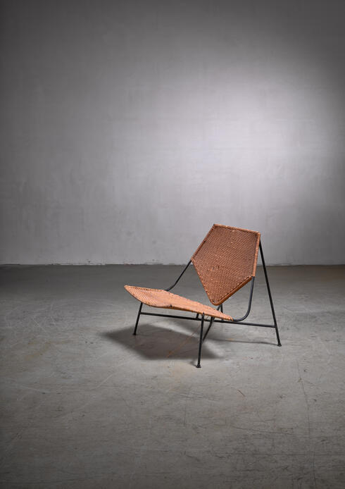 Bloomberry - Arthur Umanoff metal and rattan lounge chair
