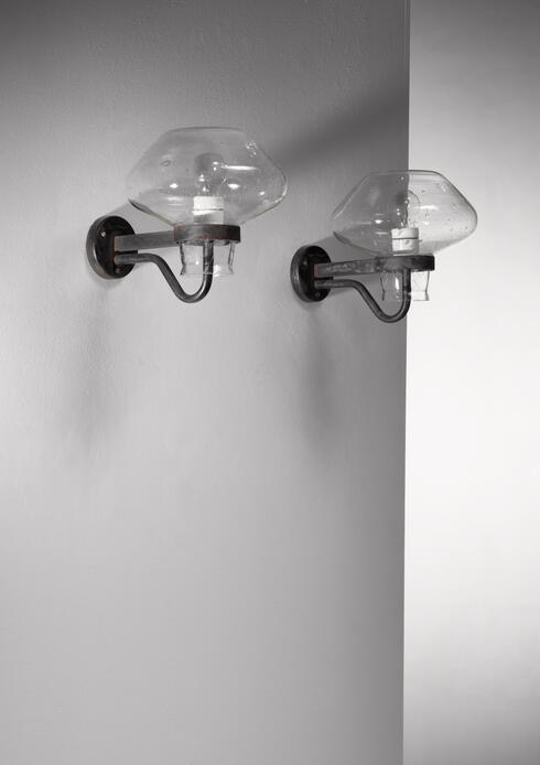 Bloomberry - Pair of Gunnar Asplund Metal and Glass Wall Sconces, Sweden, 1950s