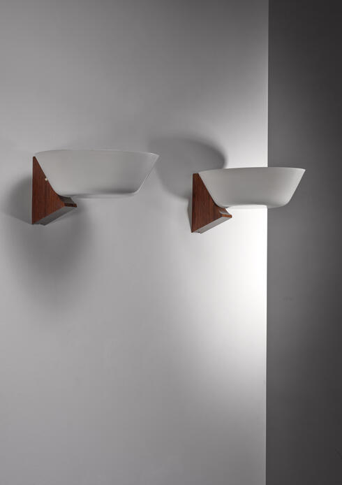 Bloomberry - Pair of Modernist wood and metal wall lamps