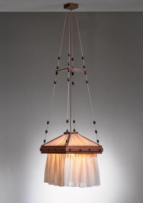 Bloomberry - Haagse School oak and fabric pendant lamp