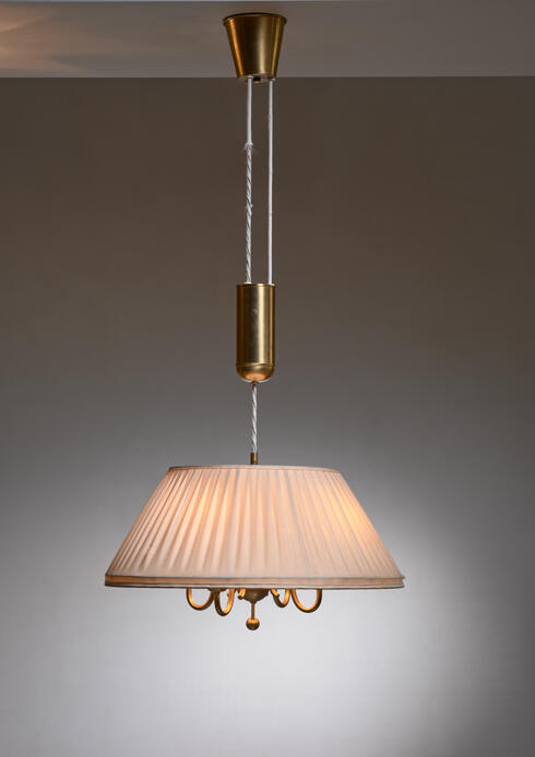 Bloomberry - Boréns brass and fabric height-adjustable pendant