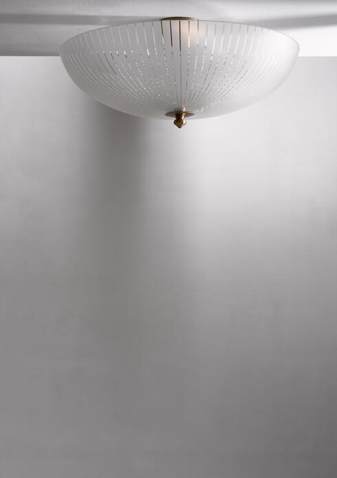 Bloomberry - Orrefors striped glass flush mount