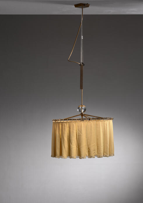 Bloomberry - Pendant with Fabric Shade and glass element