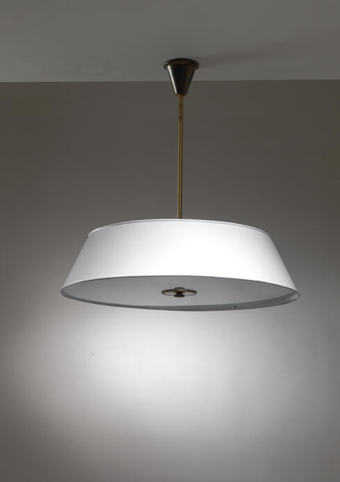 Bloomberry - Large white brass and frosted glass pendant for Rettig Palace
