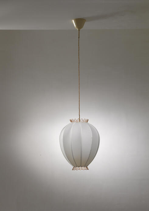 Bloomberry - Hans Bergstrom fabric and brass pendant lamp