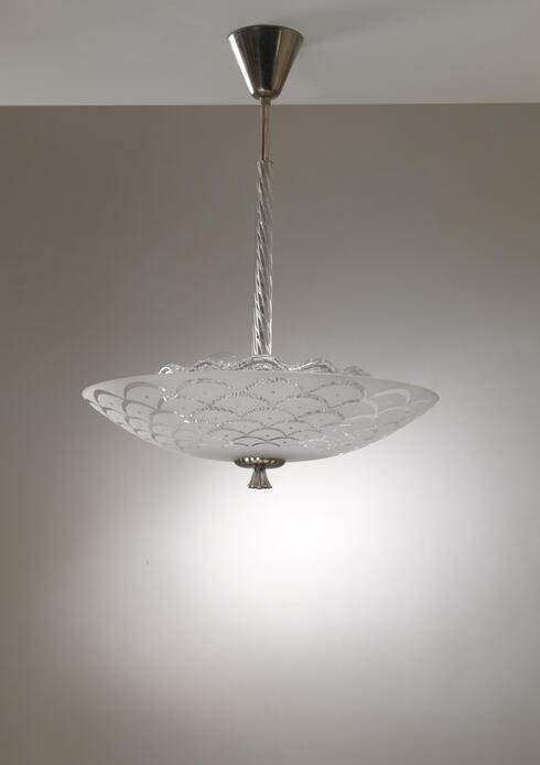 Bloomberry - Orrefors glass and metal pendant lamp