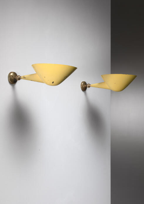Bloomberry - Pair of Stilnovo brass adjustable wall lamps