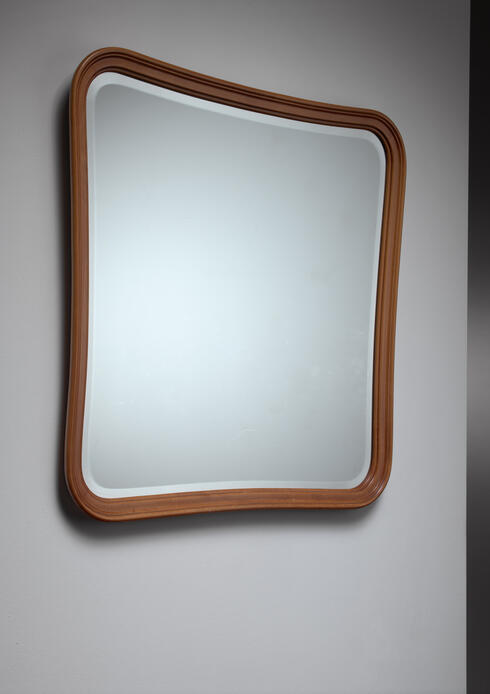 Bloomberry - Oak slightly concave square wall mirror