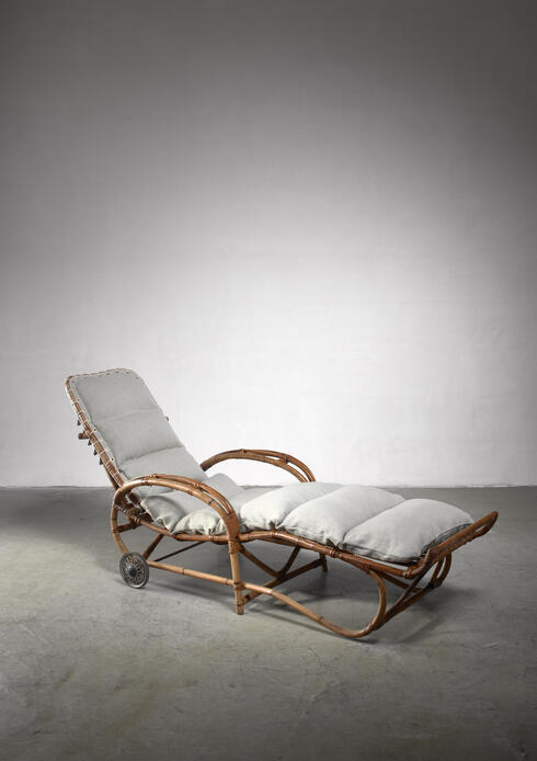 Bloomberry - Adjustable bamboo garden chaise, Germany, 1930s