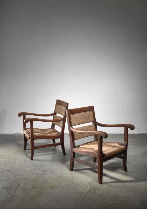 Bloomberry - Alphons Siebers pair of Arts & Crafts armchairs