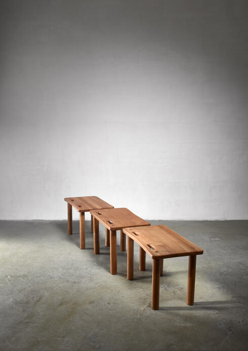 Bloomberry - Set of three pine benches or side tables