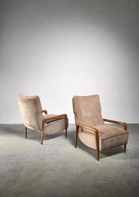 Bloomberry - Pair Italian modern lounge chairs