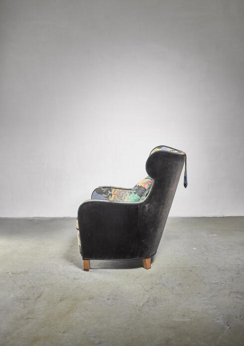 Bloomberry - Modernist wingback chair with Josef Frank upholstery