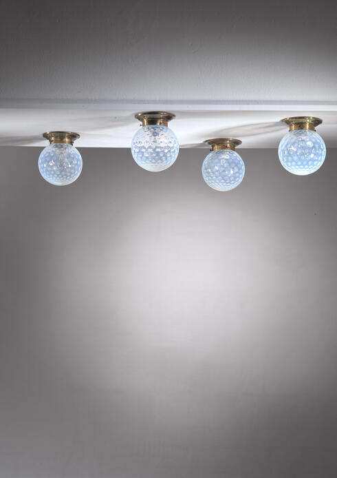 Bloomberry - Set of four glass and brass ceiling lamps