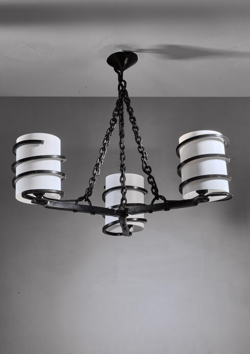 Bloomberry - Jean Touret Iron Three-Armed Chandelier for Marolles
